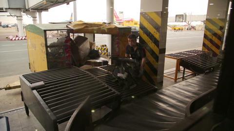 SAIGON, VIETNAM - MAY 2014: baggage claim at airpo Footage