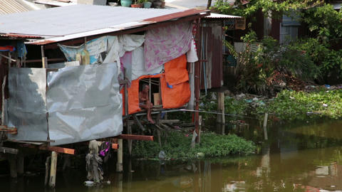 SAIGON, VIETNAM - MAY 2014: fishing in city slums Footage
