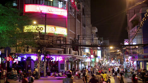 SAIGON, VIETNAM - MAY 2014: Nightlife with bars an Stock Video Footage