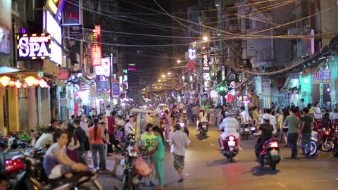SAIGON, VIETNAM - MAY 2014: Nightlife with bars an Stock Video Footage