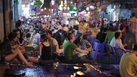 SAIGON, VIETNAM - MAY 2014: Nightlife with bars an Footage