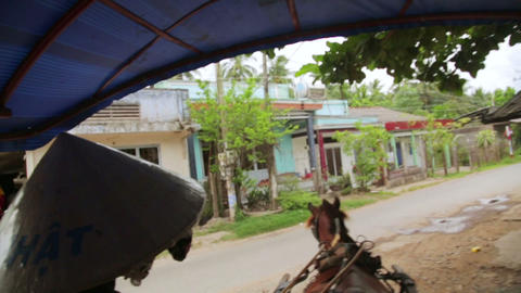 MEKONG DELTA, VIETNAM - MAY 2014: Local Horse Ride stock footage