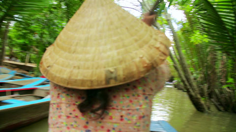 MEKONG DELTA, VIETNAM - 14 MAY 2014: Rower Paddle  Footage