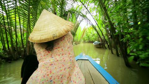 Rower Paddle Canoe at Majestic Gorgeous Mekong Riv Stock Video Footage