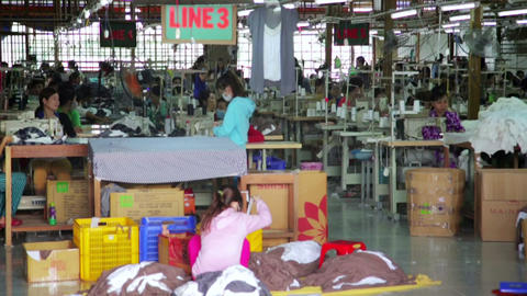 SAIGON, VIETNAM - MAY 2014: textile factory Footage