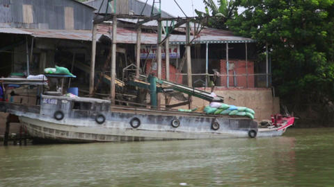 MEKONG DELTA, VIETNAM - MAY 2014: floating slums n Footage