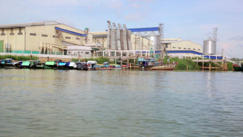 floating market slums near factory, mekong delta Footage
