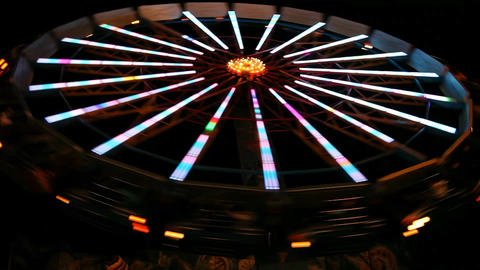 Spinning wheel in amusement park Footage