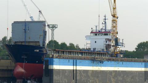 Vitin big ship still under construction and repair Footage