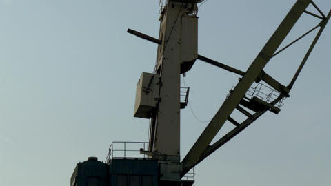 The big part of the crane that operates on the por Stock Video Footage