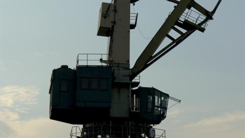 The Big Part Of The Crane That Operates On The Por stock footage