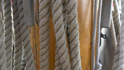Huge set of ropes used on the big ship on the harb Footage