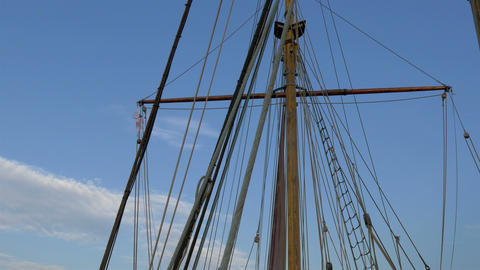 Set of ropes on the sail mast of the big ship on d Stock Video Footage