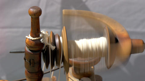 An old spinning wheel fastly turning around GH4 4K Footage