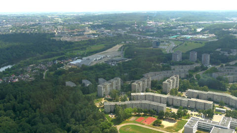Buildings and trees captured from TV tower in Viln Stock Video Footage