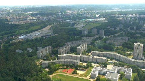 Buildings And Trees Captured From TV Tower In Viln stock footage
