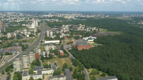 The aerial city view from the TV tower in Vilnius Stock Video Footage