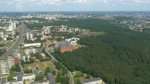 The aerial city view from the TV tower in Vilnius  Footage