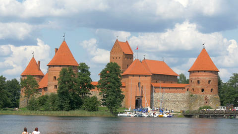 The beautiful old castle in Trakai in the middle o Footage