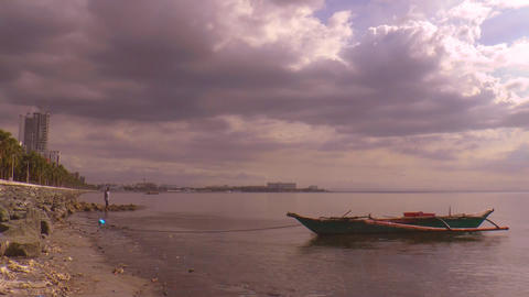 boat at manila bay time lapse Footage