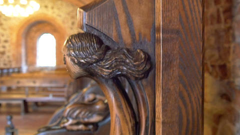 The Wood Carved Kings Chair From The Old Castle GH stock footage