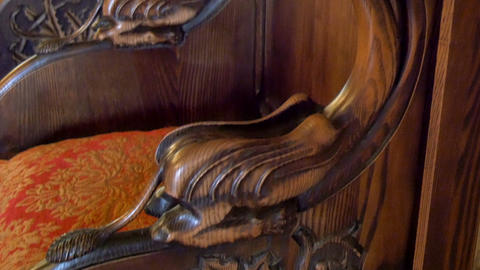 The Details Of The Arm Of The Kings Chair From The stock footage