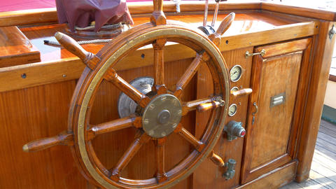 The stirring wheel of the old viking or galleon sh Footage