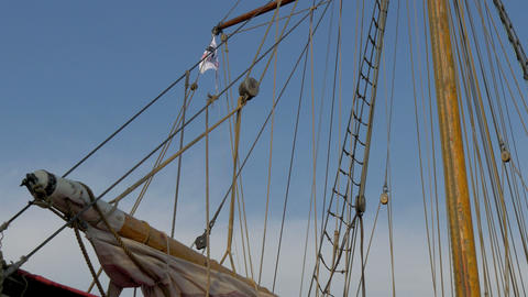 The ropes and the flag of the old viking ship GH4  Footage