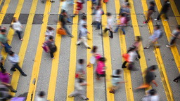 Pedestrians Crossing A Busy Crosswalk, High Angle  stock footage