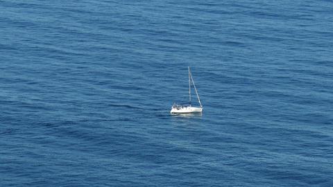 Sailing Boat At Ocean stock footage