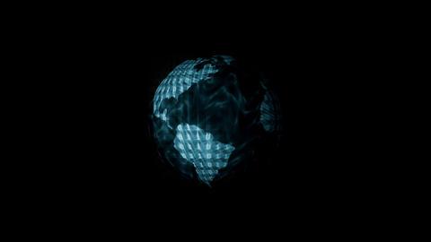 Digital World Binary Code Animation, Blue. Global  Animation