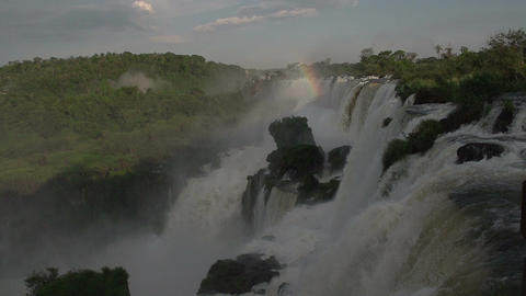059 Iguazu waterfalls , Argentina , rainbow , slow Footage