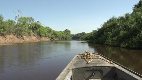 081 Pantanal , boating on the river , bleu sky Footage
