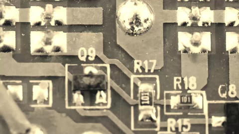 Old film circuit board - Microelectronic component Footage