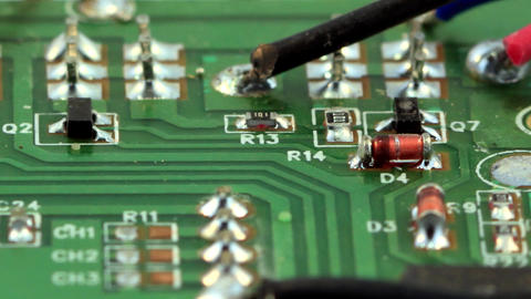 Green circuit board - Microelectronic components Stock Video Footage