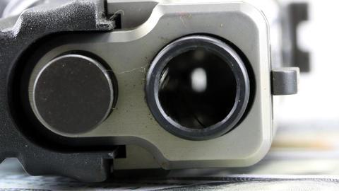 Hand Gun Barrel stock footage