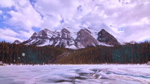 Snow Fall Over Mountains Animation Video Stock Video Footage