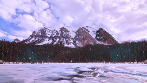 Snow Fall Over Mountains Animation Video stock footage