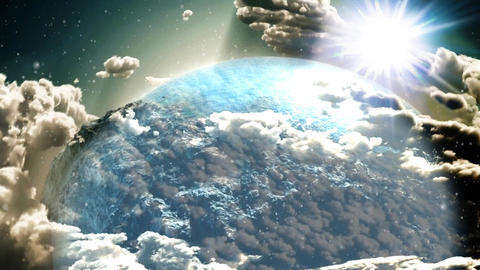 Clouds and Earth Zoom Out Animation Video Stock Video Footage
