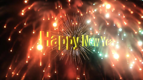 Happy New Year Fireworks Explosion stock footage