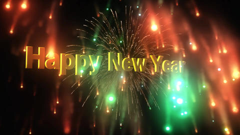 Happy New Year Fireworks Explosion Stock Video Footage