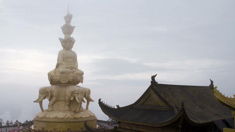 Samantabhadra Bodhisattva Statue stock footage
