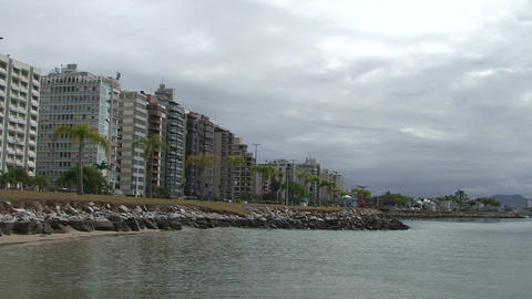 016 Florianopolis , skyline Beira Mar avenue , wat Stock Video Footage