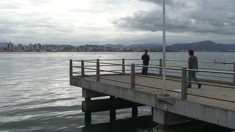 031 Florianopolis , fisherman throw his net in sea Footage