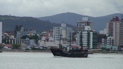 044 Florianopolis , skyline Beira Mar avenue , old Footage