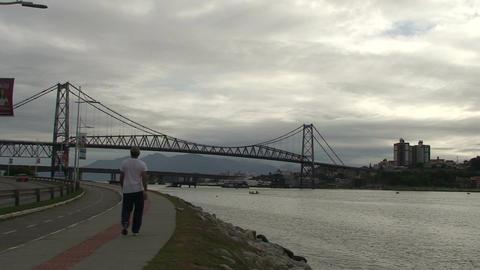 046 Florianopolis , Hercilio Luz bridge , skyline Footage