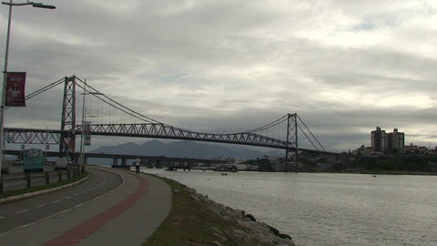 047 Florianopolis , Hercilio Luz bridge , skyline Stock Video Footage