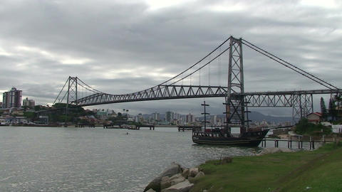 054 Florianopolis , Hercilio Luz bridge , skyline Stock Video Footage