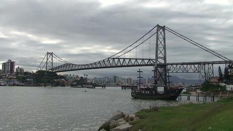 054 Florianopolis , Hercilio Luz bridge , skyline  Footage