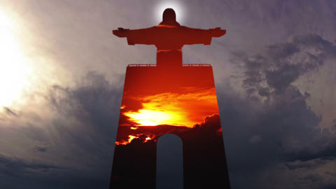 Cristo Rei and Sky. Timelapse Stock Video Footage